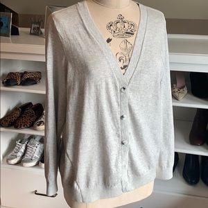 CABI Cardigan - light gray - zipper up the back